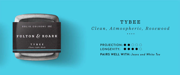 Tybee Solid Cologne: Clean, Atmospheric, Rosewood. Projection 2/5. Longevity 4/5. Pairs well with: Jeans and white tee.