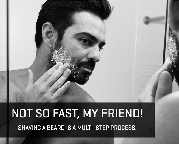 Image of man with shave cream in his beard
