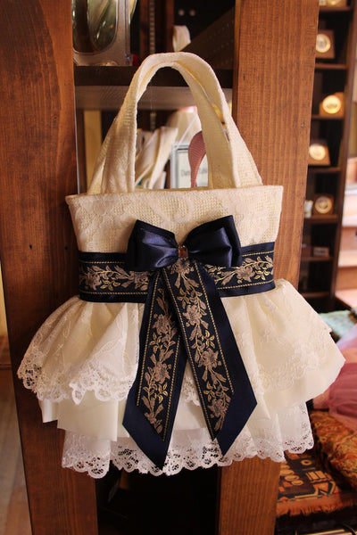 Eid Handbag (Creamy With Dark Blue Ribbon)