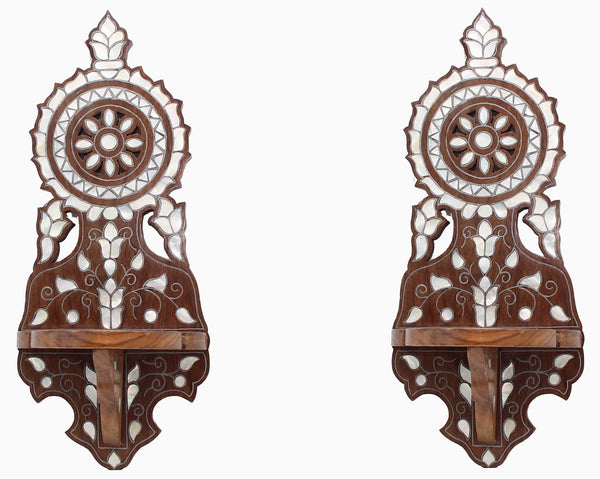 Pair of Wall sconce/shelf hand-carved - Syriana