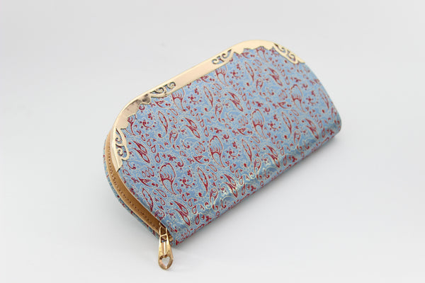 Brocade Silk Ladies' Wallet (Red & Baby Blue feathers)
