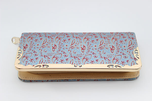 Brocade Wallet (Red & Baby Blue feathers) - Square Edges