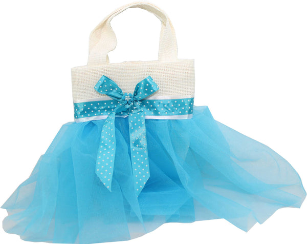 Eid Handbag -- White & Baby blue Dotty ribbon