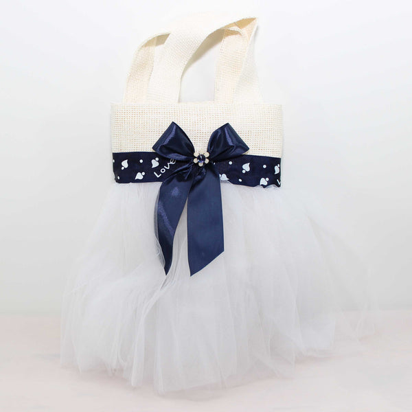Eid Handbag -- White & Blue Ribbon