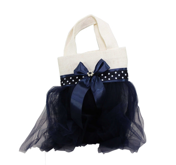 Eid Handbag -- White & Dark Blue