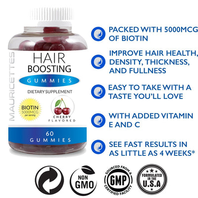 Hair Boosting Gummies with Biotin for Faster Hair Growth