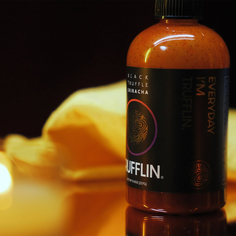 TRUFFLIN® Black Truffle Infused Sriracha Hot Sauce w/Real Black Truffles in Limited Edition Gift Box