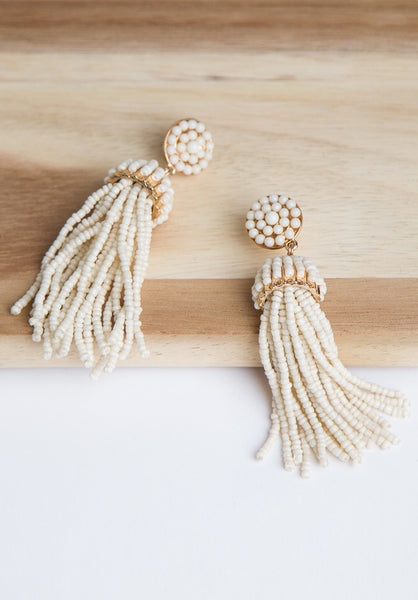 Ivory Tassel Drop Earrings - Accessories - MadeModern