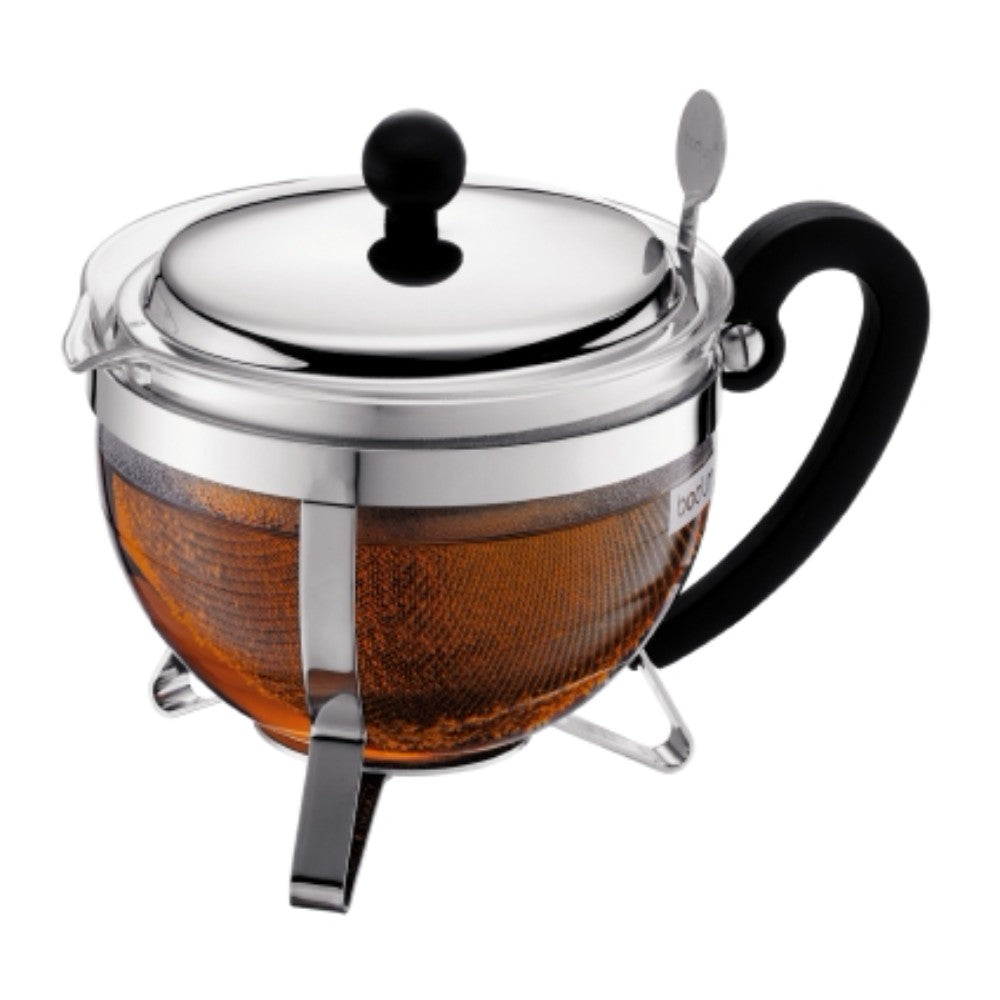 Chambord Tea Pot with Metal Lid & Filter 34oz, Chrome
