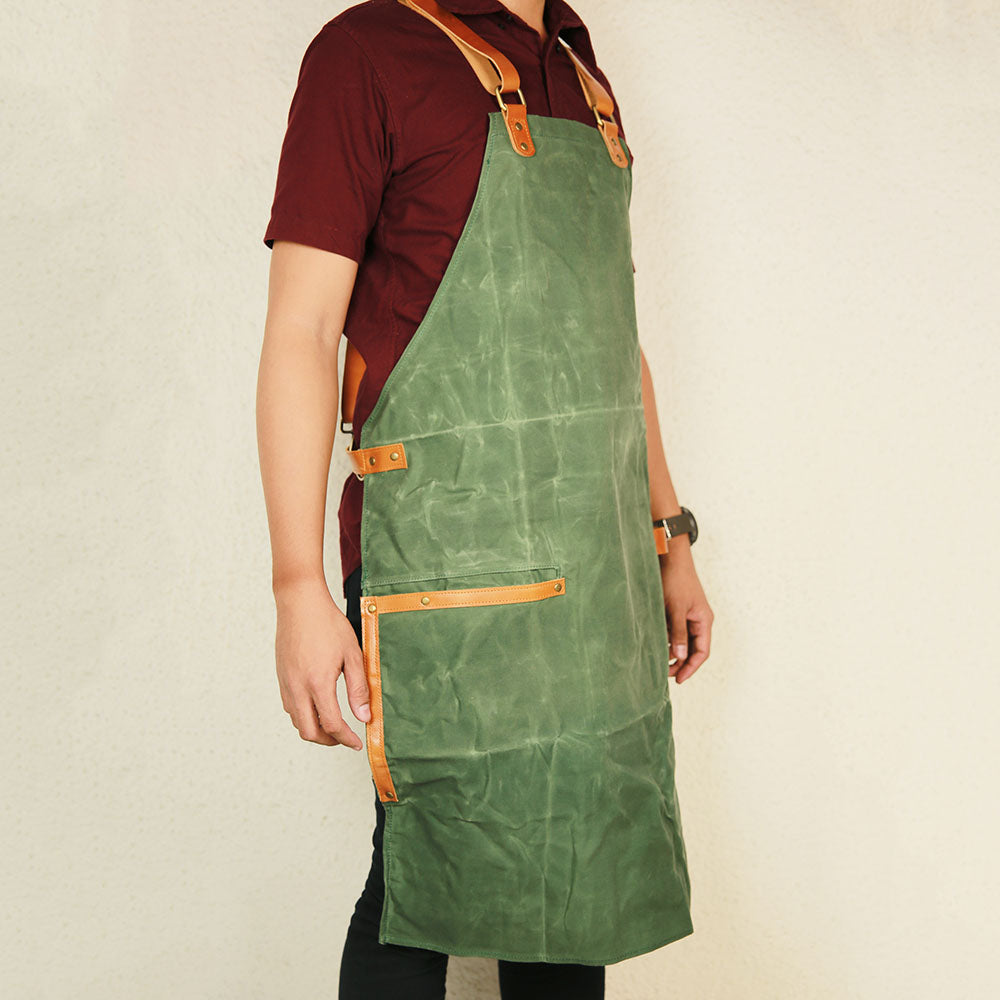 Waxed Canvas and Leather Apron (Vine Green)
