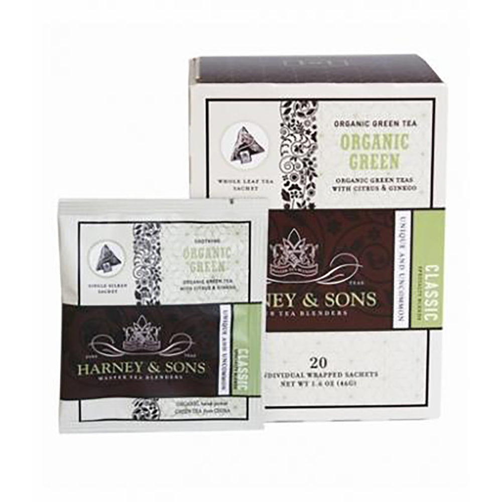 Harney & Sons Organic Green With Citrus & Ginko Wrapped Sachets 20 pcs.