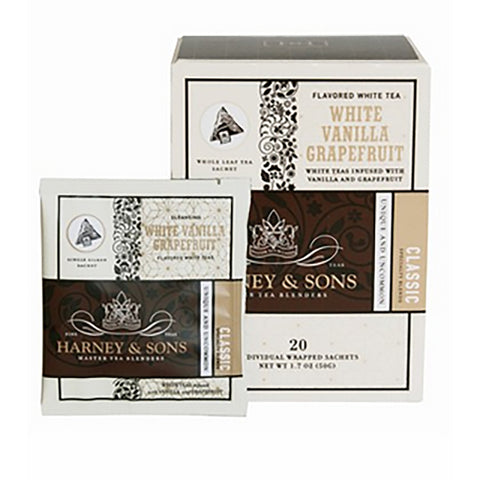 Harney & Sons White Vanilla Grapefruit Wrapped Sachets 20 pcs.