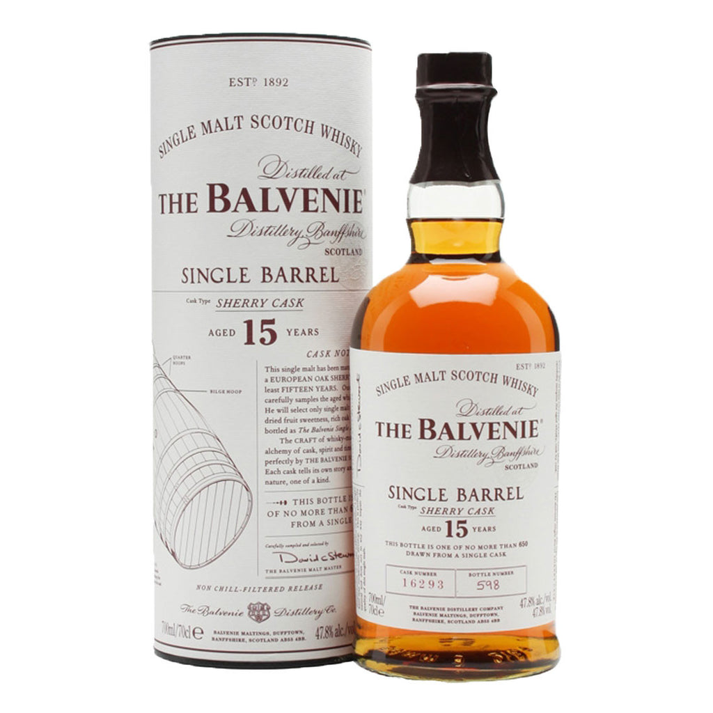 Balvenie 15 Years Single Barrel Speyside Single Malt Scotch Whisky - 700ml Whiskey - Drinkka Alcohol Delivery Best Whiskey Wine Gin Beer Vodkas and more for Parties in Makati BGC Fort and Manila | Bevtools Bar and Beverage Tools