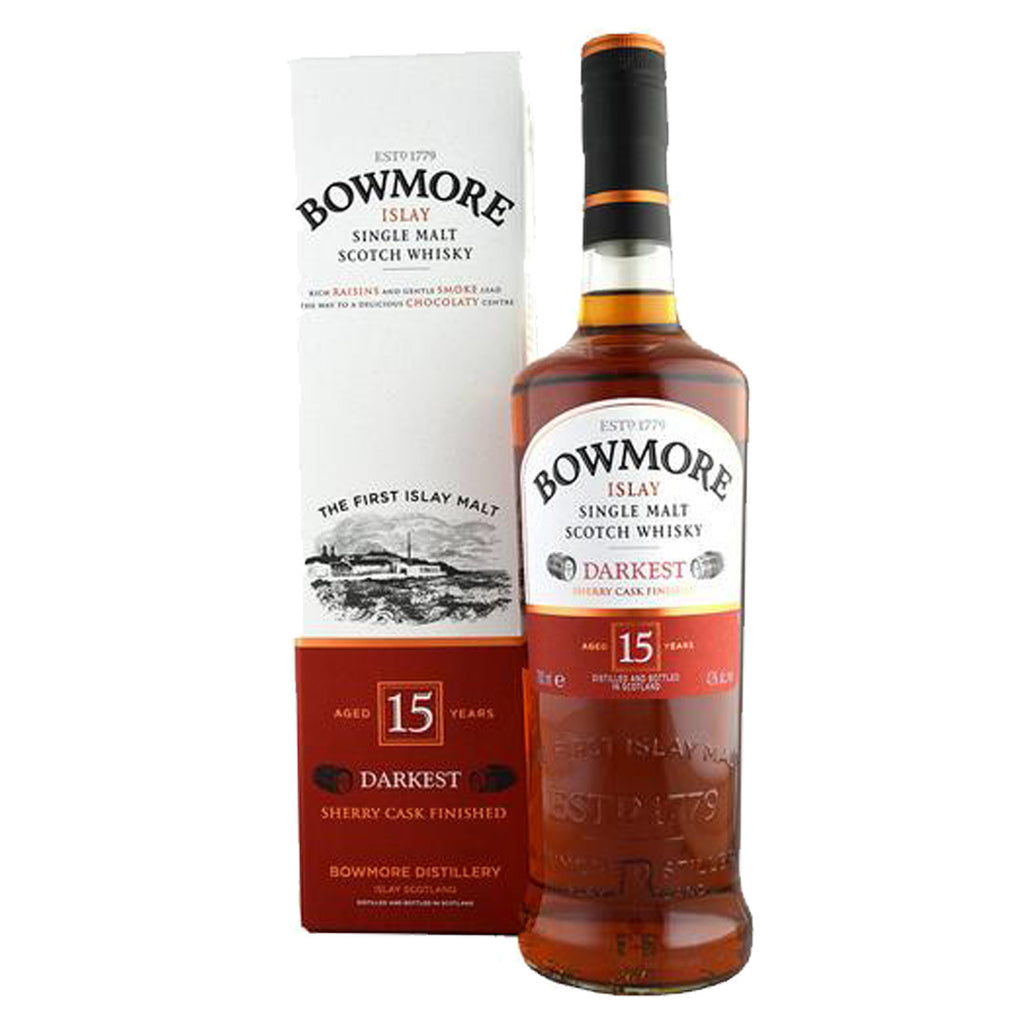 Bowmore 15 Years Darkest Islay Single Malt Scotch Whisky - 700ml Whiskey - Drinkka Alcohol Delivery Best Whiskey Wine Gin Beer Vodkas and more for Parties in Makati BGC Fort and Manila | Bevtools Bar and Beverage Tools