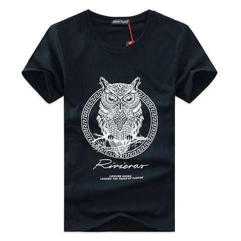Men's T-Shirt with Owl Print - Black
