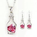 Necklace and Earring Set - Heart in a bottle - Red