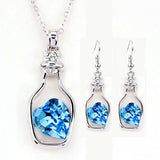 Necklace and Earring Set - Heart in a bottle - Blue