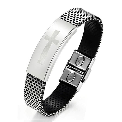 Stainless Steel Bracelet with Cross