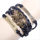 Braided Leather Owl Bracelet from Combo Shopper
