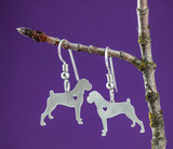 Dog Lovers Silver Earrings Boxer Breed