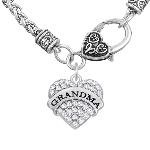 Grandma Necklace Clear Heart with Wheat Chain
