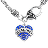 Grandma Necklace Blue Heart with Wheat Chain