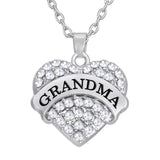 Grandma Necklace Clear Heart with Link Chain