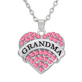 Grandma Necklace Pink Heart with Link Chain