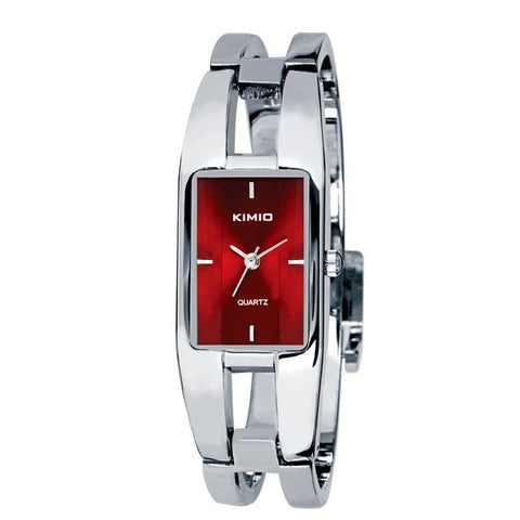Stainless Steel Watch with Red Face