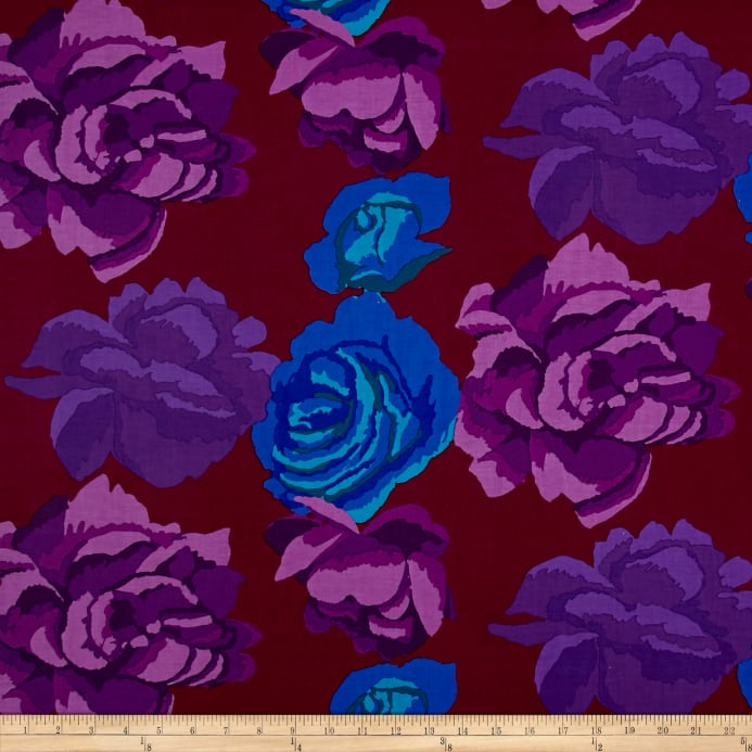 Kaffe Fassett Collective Rose Clouds Maroon PWGP001.Priced per 25cm