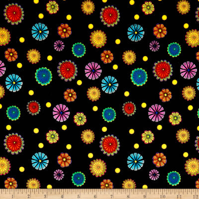 QT - CARNIVALE SMALL TOSSED FLOWERS 26373 -J  Color : BLACK.Priced per 25cm.