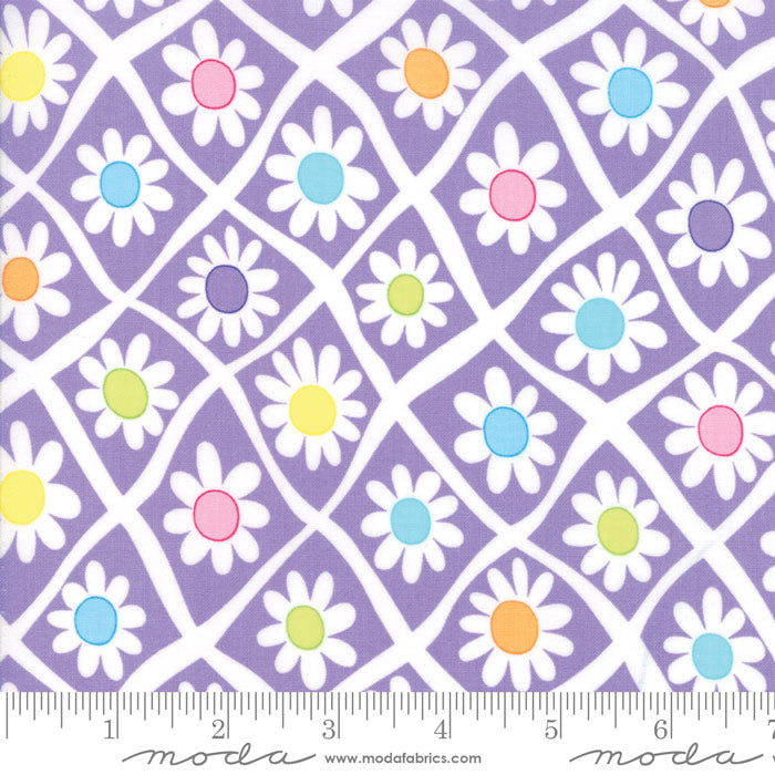 Me & My Sister FROLIC Floral Crazy Daisy Purple 22310 15.Priced per 25cm.