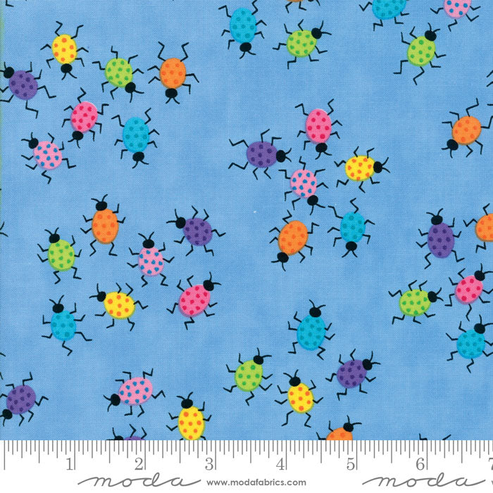 Me & My Sister FROLIC  Floral Dancing Bugs Light Blue 22315 11.Priced per 25cm.