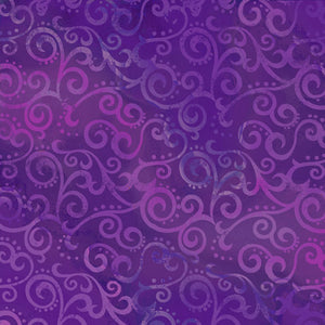 QT - OMBRE SCROLL WIDEBACK  24775 -V  GRAPE.Priced per 25cm.