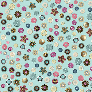 QT - CUTE AS A BUTTON - Buttons & Flowers Aqua.Priced per 25cm.