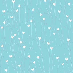 QT - GIFT OF FRIENDSHIP-HEARTS 26030 -Q  LT TEAL.Priced per 25cm.