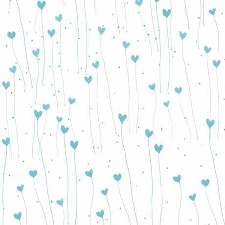 QT - GIFT OF FRIENDSHIP-HEARTS 26030 -ZQ  WHITE/TEAL.Priced per 25cm.