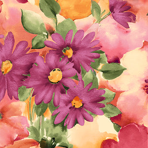 QT - SOPHIA WATERCOLOR FLORAL 26070 -X  MULTI.Priced per 25cm.