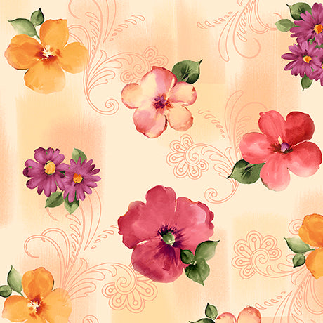 QT - SOPHIA SPACED FLORAL 26071 -E  CREAM.Priced per 25cm.