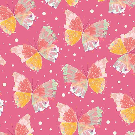 CONFETTI BLOSSOMS - BUTTERFLIES  26235 -P PINK.Priced per 25cm