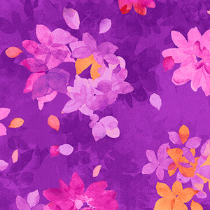 SOIREE By Studio 8 - SPACED WATERCOLOR FLORAL 26272 -V  Color : PURPLE.Priced per 25cm.