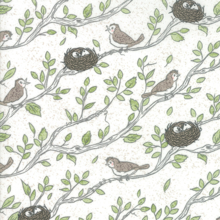 NEST by Lella Boutique Floral Birdsong Eggshell M5061-11.Priced per 25cm.