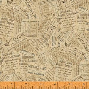 Windham - EARLY BIRD by Whistler Studios 51402-1 Newsprint Cream.Priced per 25cm.