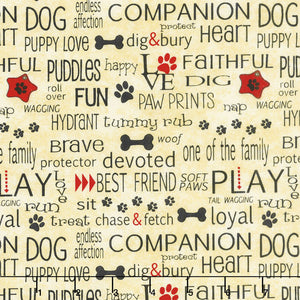 Dog Wisdom - Words A/O Golden Tan.Priced per 25cm