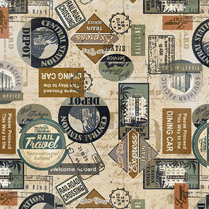 STATION STAMPS CREAM By KANVAS STUDIO 8506-07.Priced per 25cm.