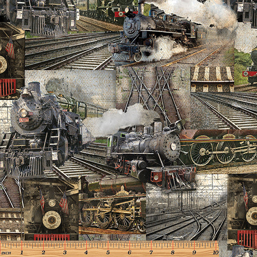 RAILWAY COLLAGE MULTI By KANVAS STUDIO: 8507-99.Priced per 25cm.