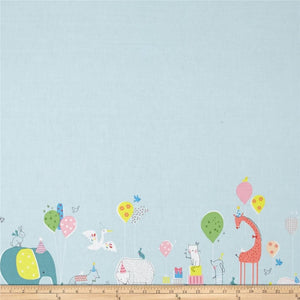 Blend Hip Hooray Double Border Blue - Birthday Party Parade.Priced per 25cm