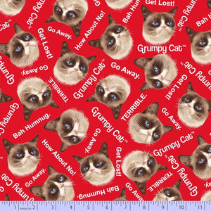 Marcus Fabric  Grumpy Cat Red Kitty Heads 9722-160