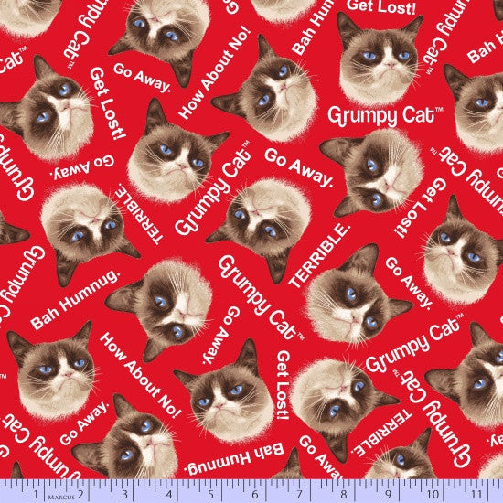 Marcus Fabric  Grumpy Cat Red Kitty Heads 9722-160.Priced per 25cm