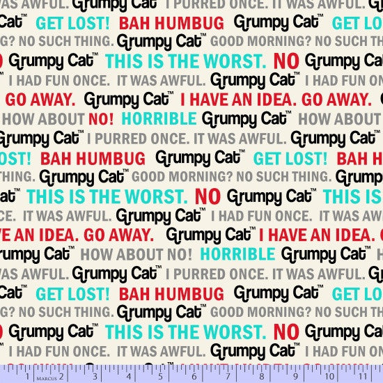 Marcus Fabric Grumpy Cat Aqua on White Grumpy Text  9723-142.Priced per 25cm